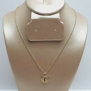 KISSPAT Tiny Initial Necklace 14k Gold Letter F